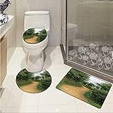 Carl Morris Hobbits bathmat toilet mat set Elf Path in Woods of Hobbit Land in The Shire New Zealand Movie Set Image Print 3 Piece Shower Mat set Green Brown