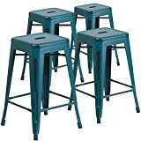 "Cheap Flash Furniture 4 Pk. 24"" High Backless Distressed Kelly Blue-Teal Metal Indoor-Outdoor Counter Height Stool"