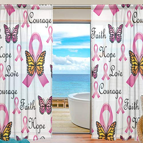 Faith Pink Ribbons Butterfly Sheer Curtains 84 Inch Length Window Treatment Set 2 Panels ()