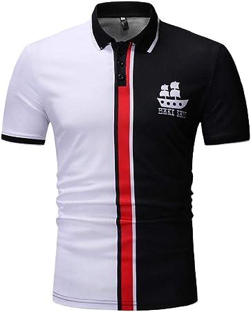GreatFun Camisa Diseño de Botones para Hombre Medias Rebecas Manga Corta Patchwork Camiseta Casual Top de Solapa Camisas Blusas Camisas con Botones Botones de Manga Corta Camisas Delgadas Camisetas: Amazon.es: Hogar