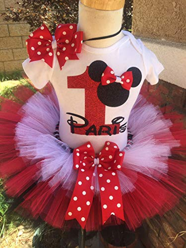 Minnie Mouse Birthday Outfit Tutu Set Dress Shirt ANY AGE Red Black and White -