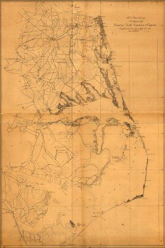 Poster Map Of Coast Of North Carolina & Virginia 1862 Antique Reprint