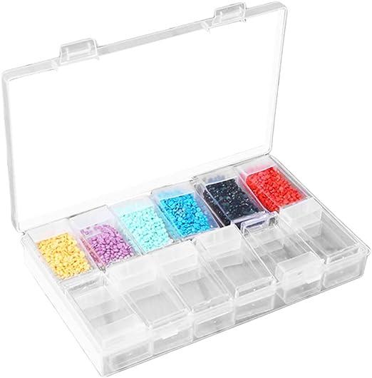 Healifty 24 grillas de plástico Transparente, Caja de joyero, contenedor de Almacenamiento con separadores extraíbles Clavos Diamantes Caja de Cuentas: Amazon.es: Hogar