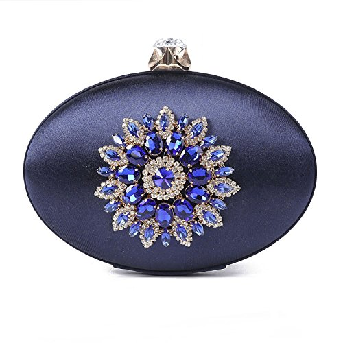Kisschic Women's Vintage Elegant Rhinestone Clutch Purse Evening Bag Handbag (Navy Blue)