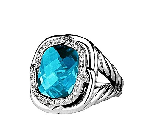 david-yurman-stsilver-labyrinth-diamond-swiss-blue-topaz-ring-size-6