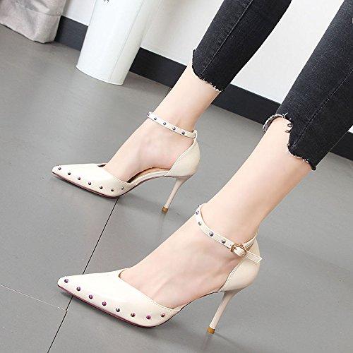 zapato punta sólido Qiqi de luz remaches 36 calzado Xue beige zapatos Compacta femenino de ranurados y simple de elegante un color de S6Yd6IwnF