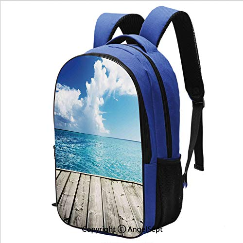 School Backpack Image of Caribbean Sea from Wood Deck with Cloud Sky Landscape in Tropics Print Water Resistant Bookbag,Turquoise White Brown (Caribbean Massager)