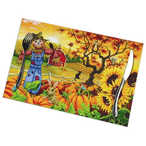 (Jaylon Rectangular Placemat for Dining Table Scarecrow Print Table Mat Heat-Resistant Stain Resistant Anti-Skid Table Decor for Dining Room Kitchen Outdoor Easy to Clean 12x18 Inch Set of 6)