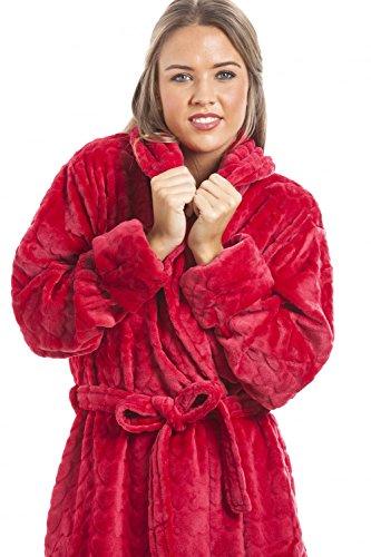 Camille - Albornoz de forro polar suave para mujer - Estampado de corazones - Rojo Rojo