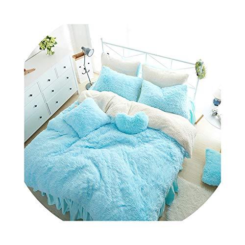 White Pink Fleece Bedding Set King Queen Twin Size Girls Bed Set Warm Soft Bed Sheet Duvet Cover Set Bed Skirt Parure Lit,1,Queen Size 7Pcs