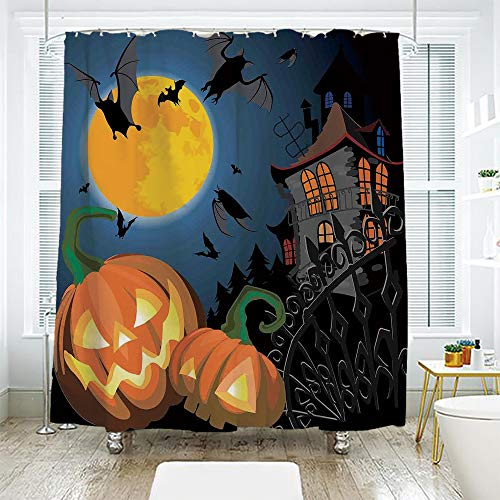 Bathroom Curtain Separation Door Curtain Shower Curtain,Halloween Decorations,Gothic Halloween Haunted House Party Theme Decor Trick or Treat for Kids,Multi,72