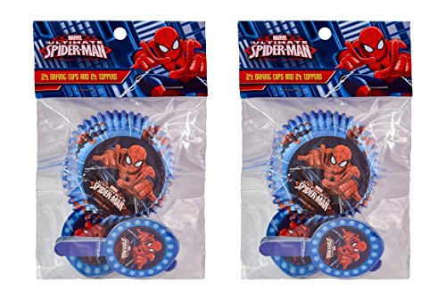 Spiderman Cupcake Liners (2-Pack Marvel Spider-Man 24 Cupcake Liners & 24 Toppers (48)