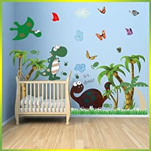 Dinosaur wall stickers With Palm Tree Decor Decal Art For ...