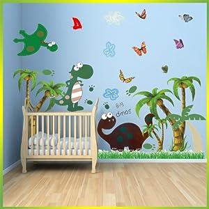 Dinosaur wall stickers with palm tree decor decal art for for Dinosaur wall decals for kids rooms