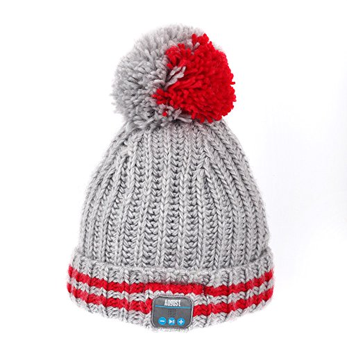 August EPA30 – Wireless Bluetooth Beanie - Winter Knit Hat with Bluetooth Stereo Headphones, Microphone, Hands Free System and Rechargeable battery - Compatible with Mobile Phones, iPhone, iPad, Laptops, Tablets, Smartphones (Red Stripe)