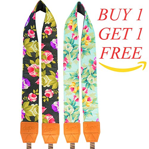 Dupe Accessories 2 for 1 Camera Strap DSLR Camera Strap Universal Neck Strap, Floral, Unisex, Nikon, Canon, Sony, Olympus, Pentax