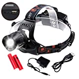 Zoomable LED Headlamp Siensync(TM) 1800 Lumens CREE XM-L2 Headlight Waterproof 5 Modes Flashlight Torch with Rechargeable Batteries Charger USB Cable for Outdoor Riding Hunting Hiking Camping