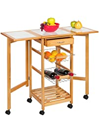 Best Choice Products Portable Folding Tile Top Drop Leaf Kitchen Island Cart  Table Rolling Trolley Design Ideas