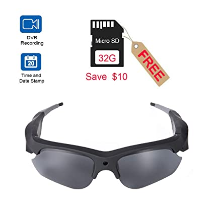 Smart Camera Video Glasses,1080P HD Video Recording Camera with 32GB  Built-in Memory,UV Protection Safety Lenses,Sunglass Camera