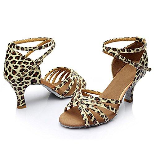 Latino Al Americani Prestazioni Professionale Da Sandali Donna Balli Fibbia Leopard Seta Coperto Sneaker Principiante Liscio Allenamento 05wqwpxF