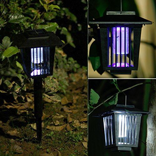 Solar-Powered Outdoor Insect Killer / Bug Zapper / Mosquito Killer- Hang or Stick in the Ground - Dual Modes - Bug Zapper Garden Light Function