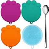 Taglory Set of 3 Pet Can Lids/BPA Free Silicone Dog Cat Food Can Covers/Combo with 1 Scrubber & 1 Spoon