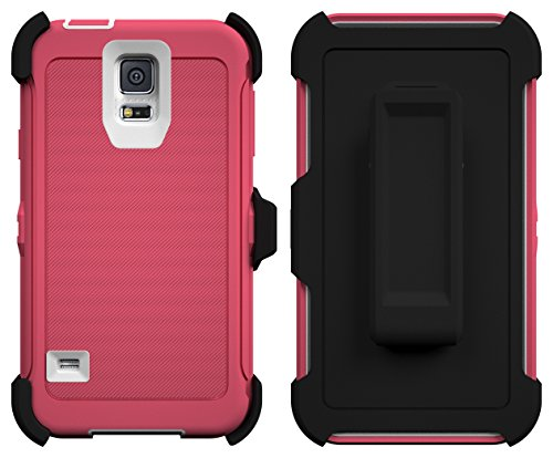 Galaxy S5 Case, ToughBox® [Armor Series] [Shock Proof] [Pink | White] for Samsung Galaxy S5 Case [Built in Screen Protector] [With Holster & Belt Clip] [Fits OtterBox Defender Series Belt Clip]