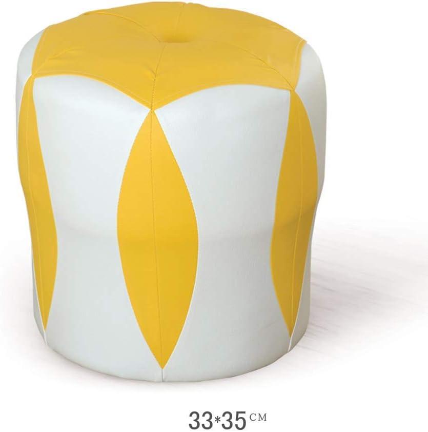 座席 スツールフットスツールワークスツールシャワースツールステップスツールステッチクリエイティブレザーコーヒーテーブルスモールブロックスツールを追加ソファスツール耐久性(色:黄色) DCCRBR