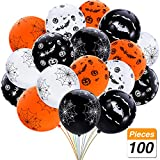 SATINIOR 100 Pieces 12 Inches Halloween Latex Balloons Bat Pumpkin Spider Web Balloons for Home Party Decoration, Black, White, Orange