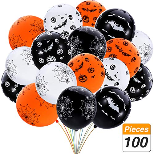 SATINIOR 100 Pieces 12 Inches Halloween Latex Balloons Bat Pumpkin Spider Web Balloons for Home Party Decoration, Black, White, Orange for $<!--$11.99-->