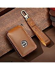 ontto Etui na kluczyki samochodowe pasuje do Volvo XC40 XC90 XC70 S60 S80 S90 C30 V70 V90 T5 T6 2019 2020 etui na pilot zdalnego sterowania, okładka, skóra, etui na klucze, klucze, etui, 4 przyciski, kolor brązowy