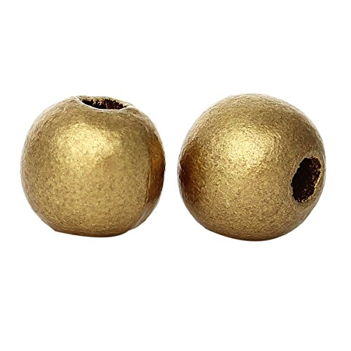 (1000 Gold Metallic Round Wood Beads Bulk 10mm Wood Bead with 3.5mm Large Hole)