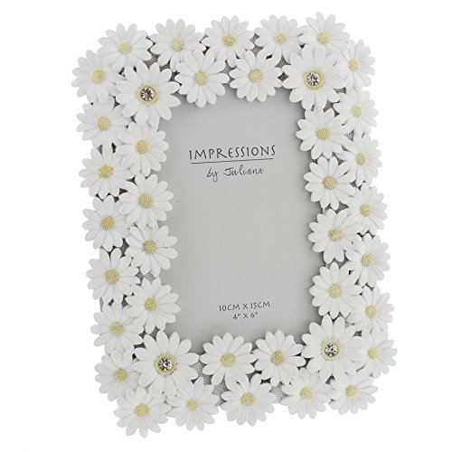 Oaktree Gifts White Resin Daisy Photo Frame 4 x 6 Daisy Home Decor