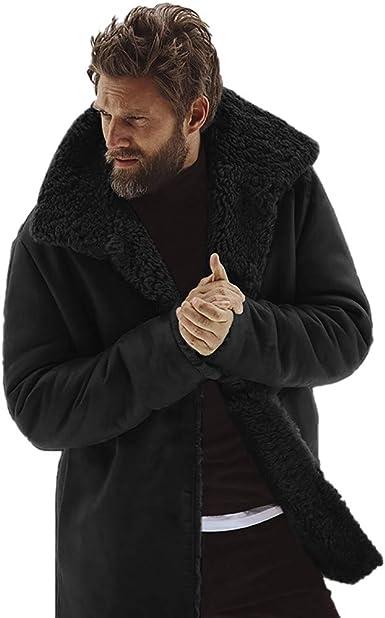 Manteau Homme Noir Parka Col Laine a la Mode Longue Pas Cher
