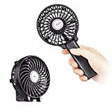 EasyAcc Handheld Fan Mini Portable Outdoor Electric Fan with Rechargeable LG 2600mAh Battery Adjustable 3 Speeds Folding Design for Home and Travel -- Black