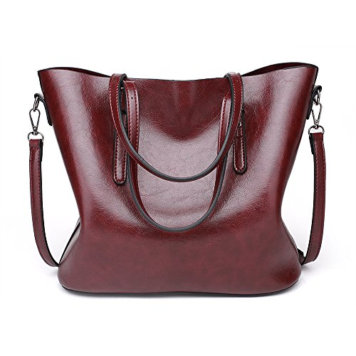 Coffee Coffee Simple Shoulder Waterproof Color Large Leather capacity Bag Messenger Oil FangYOU1314 vxdfqwgPw