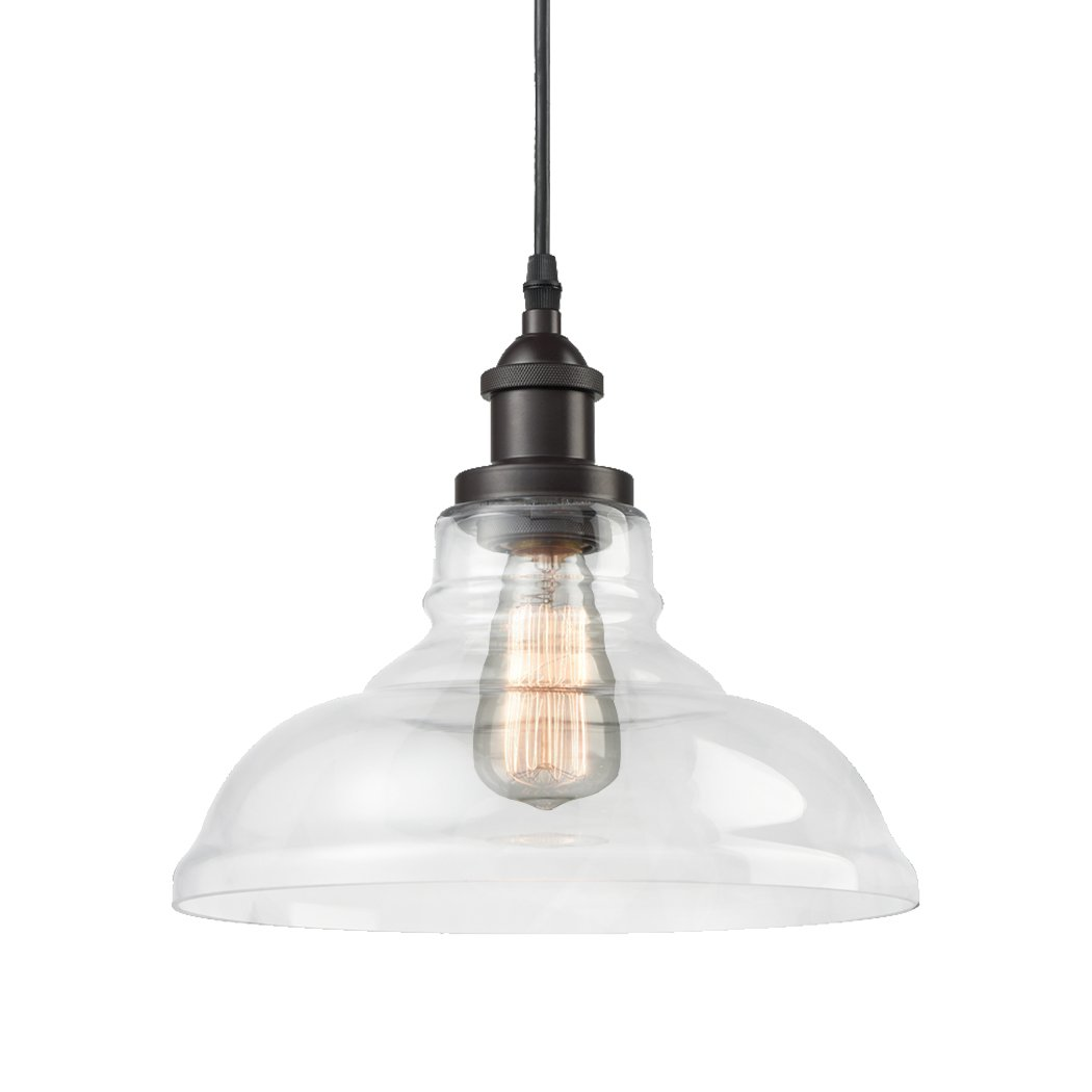 CLAXY Ecopower Industrial Edison Vintage Style 1-Light Pendant Glass Hanging Light