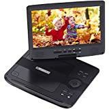 "Portable DVD Player, HDJUNTUNKOR HDPDVD-01 with 10.1"" Swivel Screen Car DVD Player for Both Traveling and Indoor Viewing Support SD Card USB DVD AV in/Out Headphone 5 Hours Rechargeable Battery Black"