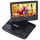 Portable DVD Player, HDJUNTUNKOR HDPDVD-01 with 10.1 '' Swivel Screen Car DVD Player for Both Traveling and Indoor Viewing Support SD Card USB DVD AV In/Out Headphone 5 Hours Rechargeable Battery Black