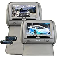 9 Inch Headrest Video Monitor Auto Car DVD Player LCD Digital Screen Monitor Backseat DVD/CD/USB Player with Remote Control support Games FM Transmitter-Gary (CH1007B)