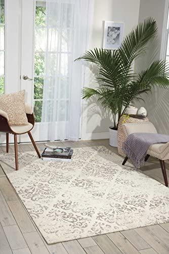 Nourison Damask Vintage Distressed Area Rug, 8 Feet by 10 Feet 8 x 10 , Ivory