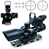 RioRand 3 in 1 2.5-10x40 Tactical Rifle Scope Dual illuminated Mil-dot with Red Laser w/ Rail Mount +Tactical 4 Reticle Red and Green Dot Open Reflex Sight