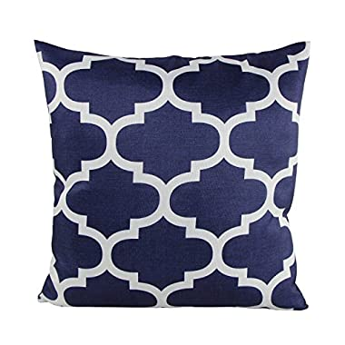 Decorative Throw Pillow Case Cushion Cover (Navy Quatrefoil) 18  X 18