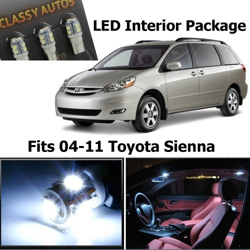Classy Autos White LED Lights Interior Package For Toyota Sienna (11 Pieces) (White Led Interior Package compare prices)