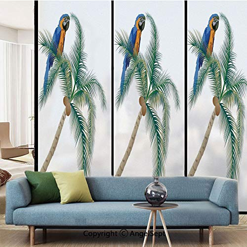 AngelSept No Glue Static Cling Glass Sticker,Big Parrot Sitting on Coconut Palm Tree Talkative Character of Exotic Design,W15.7xL63in,for Home Office,Green White Blue Brown