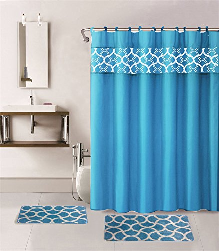 15PC GEOMETRIC TURQUOISE BLUE PRINTED BANDED BATHROOM SHOWER CURTAIN SET BATH MAT FABRIC COVERED RINGS
