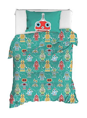 paradise RANFORCE 100% Cotton Boys Bedding Set, Robots Themed Twin Size Quilt/Duvet Cover Set, Kids Bed Set, Reversible (2 Pieces) (Robot Duvet Cover Twin)