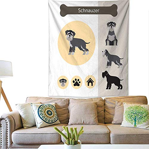 Anyangeight Colorful Tapestry Schnauzer Dog Breed Infographic 57W x 74L INCH