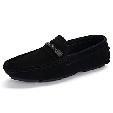 Men's Casual Shoes Driving Office Work School Shoes Soft Leather Flats Black US8