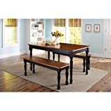 3 Piece Wooden Dining And Breakfast Table And Bench Set, Furniture